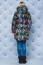 Куртка зимняя цветочный принт. Размеры от 42 до 58, фото 3