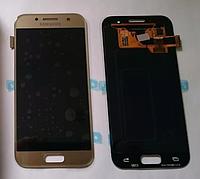 Оригинальный дисплей (модуль) + сенсор Samsung Galaxy A3 2017 A320 A320F A320FL A320Y (золотой, Super AMOLED)