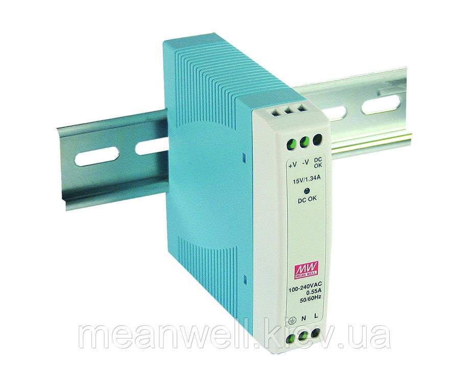MDR-10-15 Блок питания на Din-рейку Mean Well 10вт, 15в, 0,67А