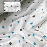 Фланель детская  бирюзовые и графитовые звезды 1,5см на белом  №875