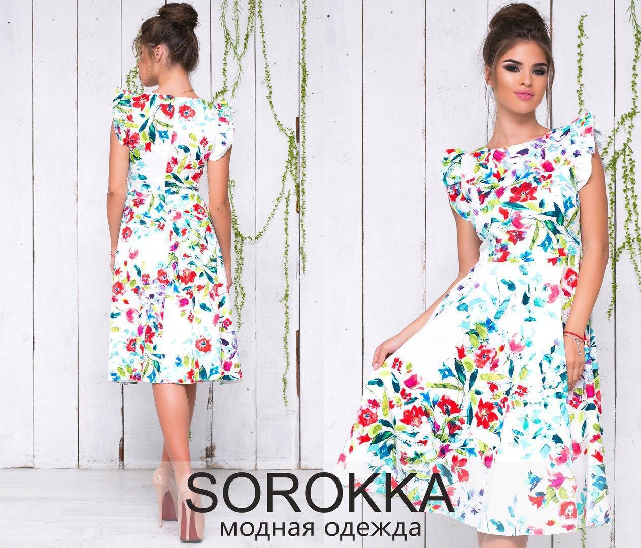 Платье из принтованного стрейч-коттона  размер 42-46