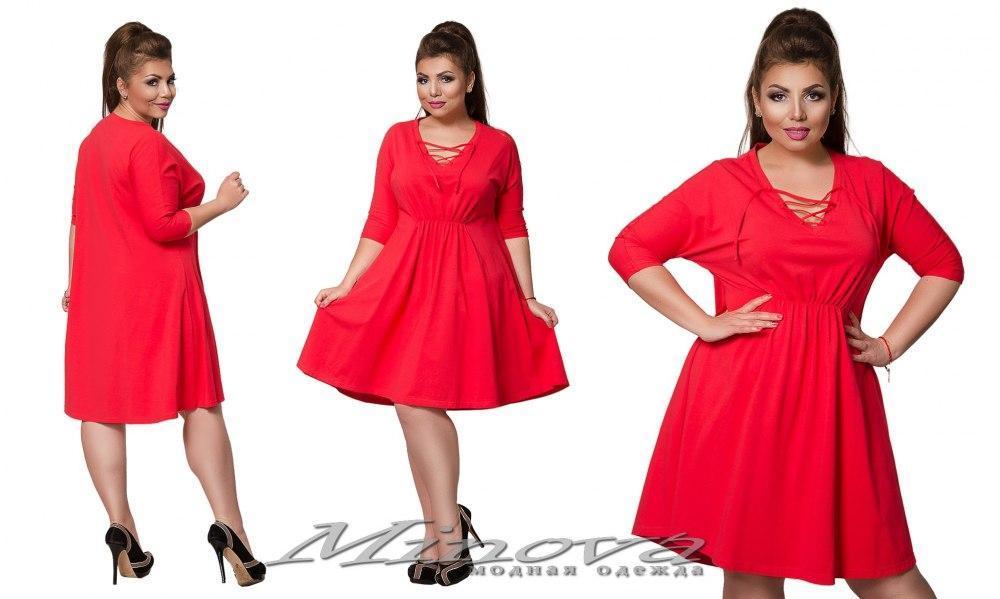 Повседневное платье из трикотажа большого размера 50-62