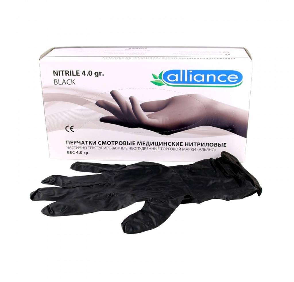 Перчатки нитриловые неопудренные черные 4,0 г L (50 пар) Alliance