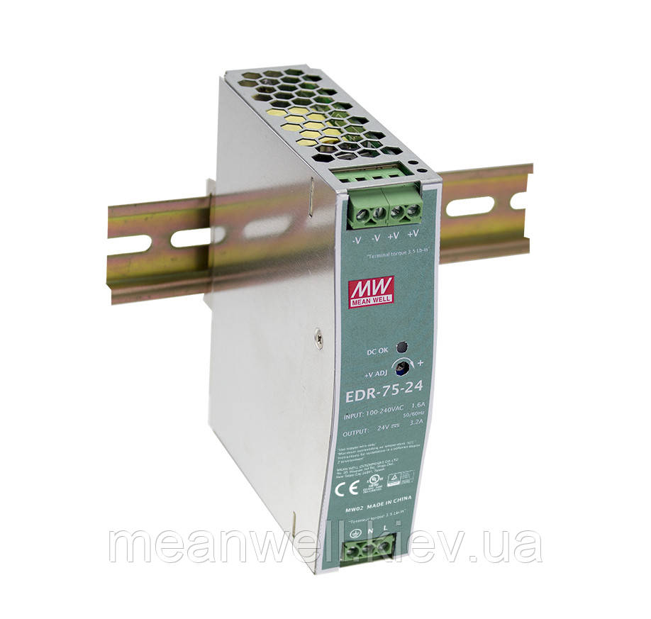 EDR-75-12 Блок питания на Din-рейку Mean Well 75,6вт, 12в, 6,3А