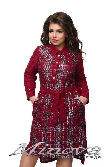 Платье рубашка с удлиненной спинкой букле  Размеры:52,54,56, 58