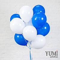 Связка из 15 белых и синих шаров