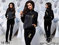 ea158b483d9351 Молодежный спортивный костюм трикотаж двунитка, стеганная эко-кожа размер  42,44,46