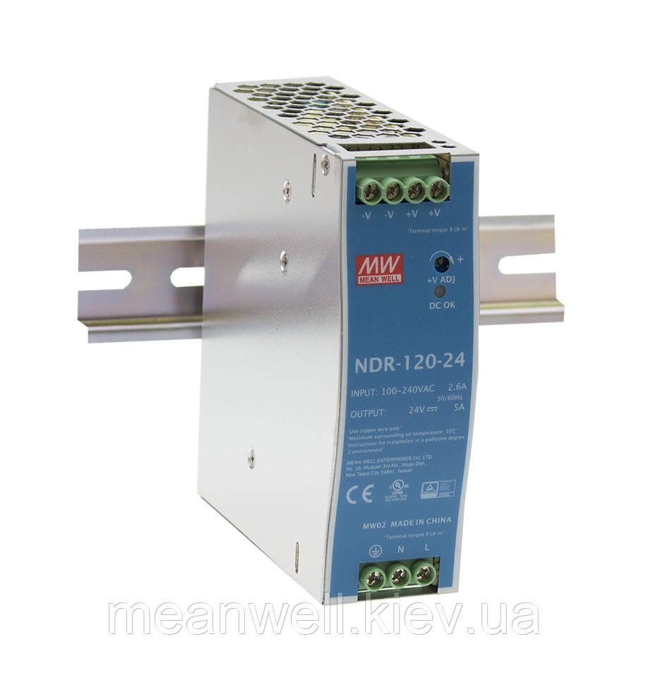 NDR-120-24 Блок питания на Din-рейку Mean Well 120вт, 24в, 5А