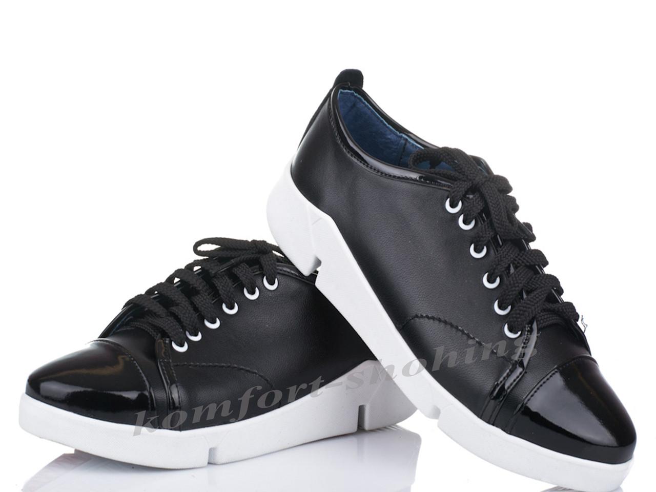 Женские кожаные кроссовки на шнуровке , черные  V 1090