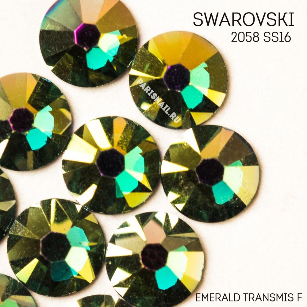 """Стразы """"Swarovski""""  2058 SS16 EMERALD TRANSMIS F - 10шт"""