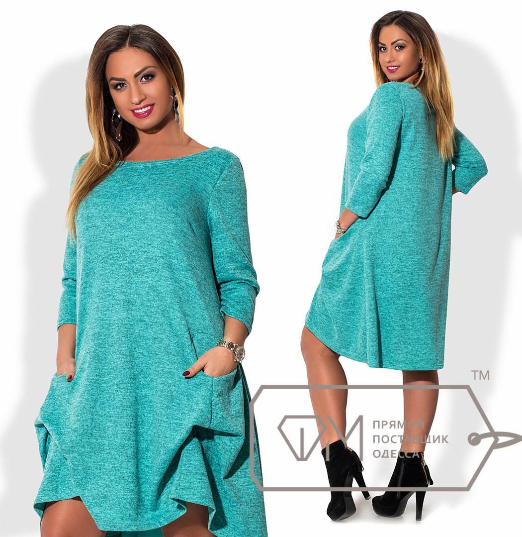 Платье-трапеция  из ангоры-софт и драпировками подола под прорезными карманами размер 48-54