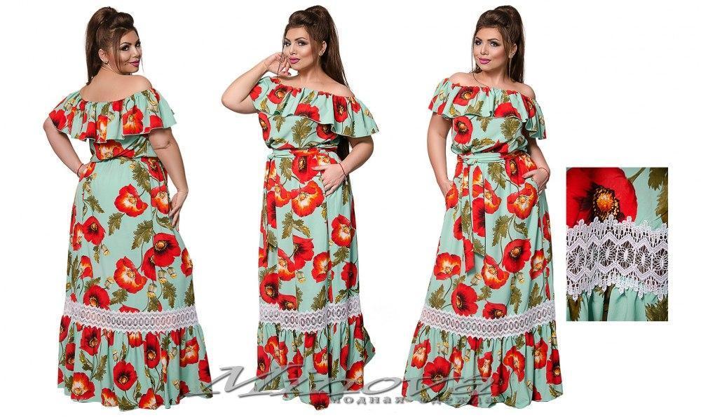 Летнее женское платье в пол  большого размера 50-52, 54-56