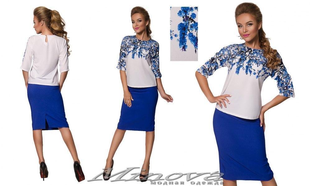 Юбочный костюм блуза софт, юбка креп-костюмка   размеры: 42-46