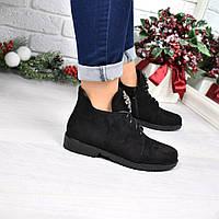 Ботинки женские Esfero черные замша, женская обувь
