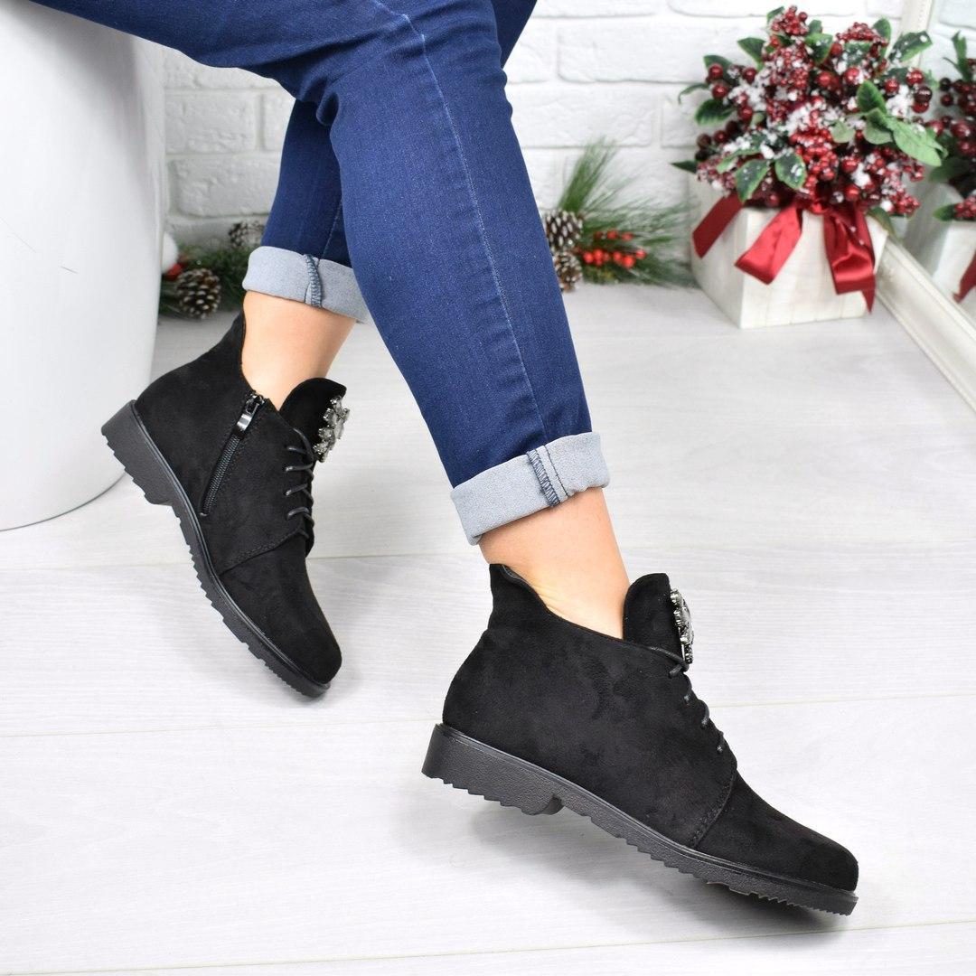 Купить Ботинок женскую Esfero чёрную замшу, женскую обувь по низкой ... d91dc7fb55e