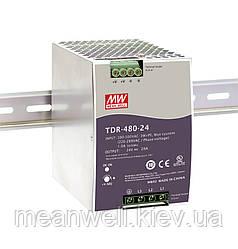 TDR-480-24 Блок питания на Din-рейку 3-х фазный Mean Well 480вт, 24в, 20А