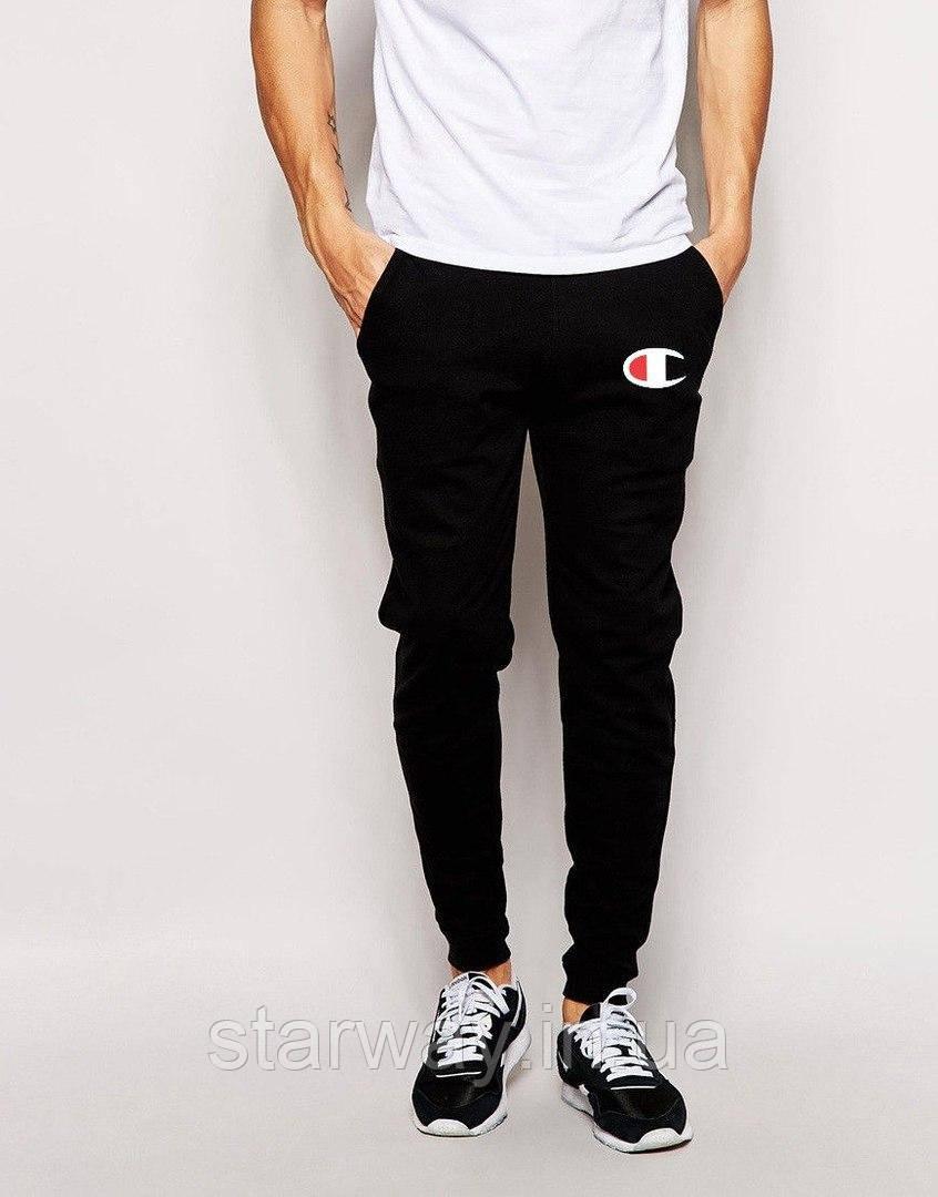 Чёрные штаны с принтом Champion | Стильные