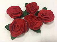Заготовка з фетру  (троянда об'ємна червона) Розмір 3 х 3 см.