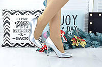 Женские серебряные  туфли  на корпоратив 36, 40 размер