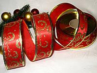 """Новогодняя Лента атласная """"Морозные узоры"""" цвет красный и золото 3.8 см"""