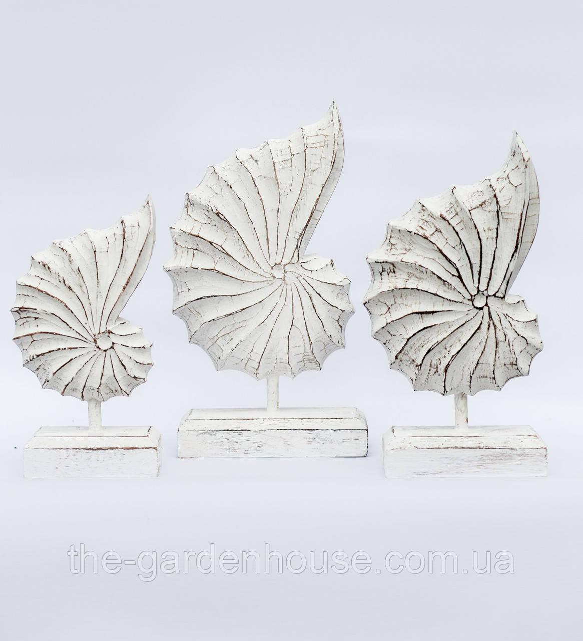 """Набор декоративных статуэток """"Ракушка белая"""" (36, 33 и 28 см)"""