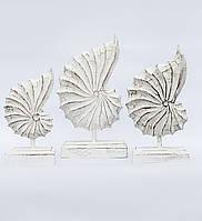 """Набір декоративних статуеток """"біла Мушля"""" (36, 33 і 28 см)"""