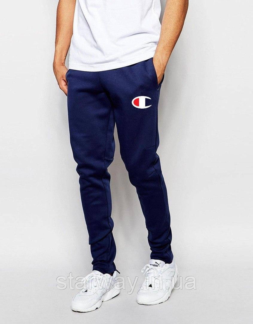 Тёмно-синие штаны с принтом Champion | Стильные