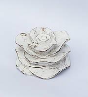 Декоративная резная роза 17х10 см, белая