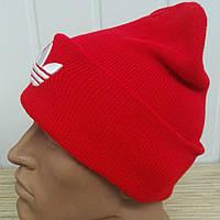 """Вязаная красная шапка с вышивкой """"Adidas"""" - красный с белой вышивкой"""