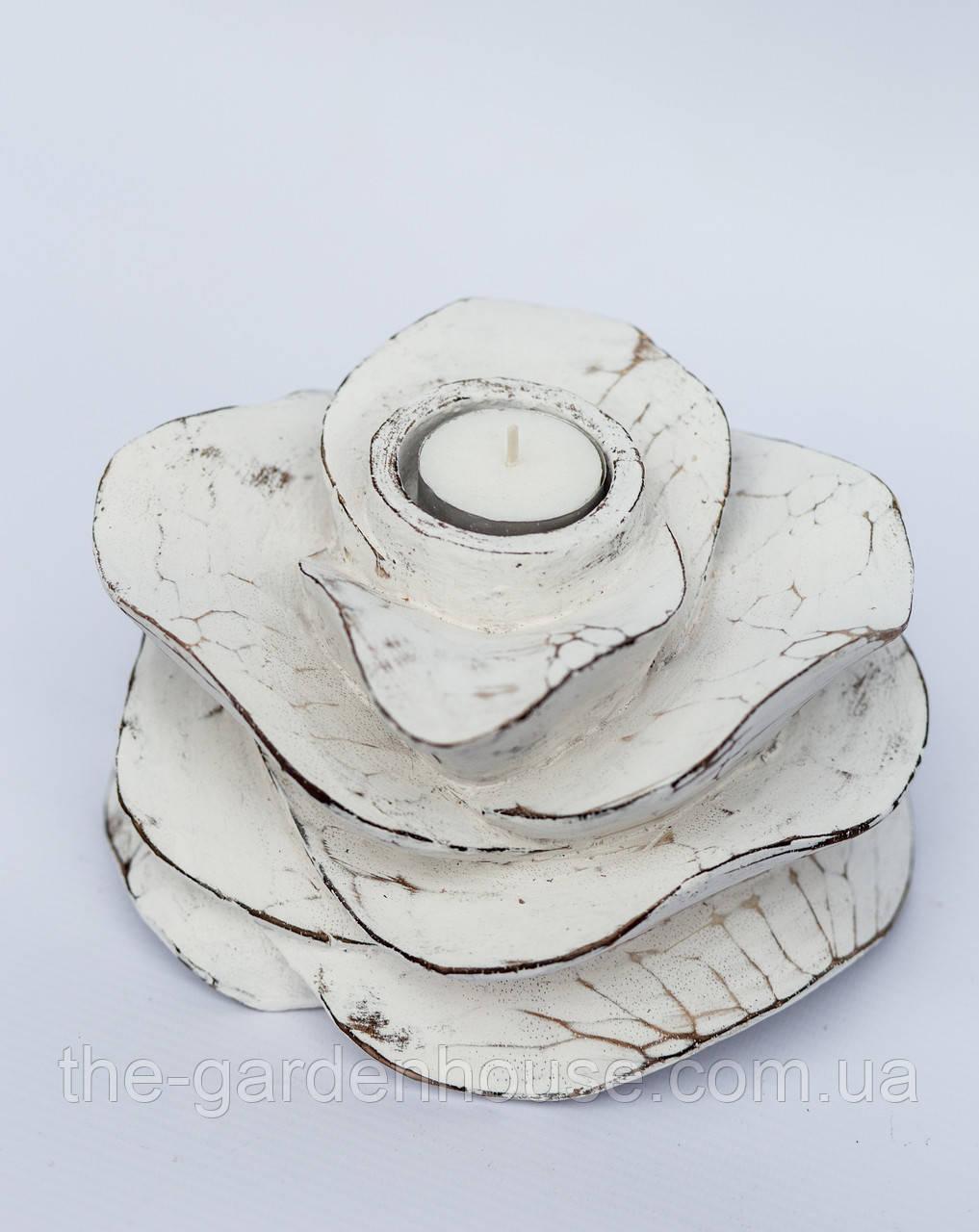 """Підсвічник """"Троянда"""" 17х10 см, білий"""