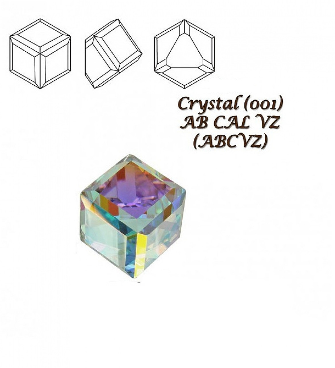 "Элемент ""Swarovski"" 4841 ""Кубик"" мм 4,0 CRYSTAL AB CAL""VZ"" - 2 шт"