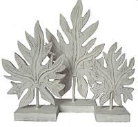 """Набор резных статуэток """"Лист папайи белый"""" из дерева (60, 45 и 38 см)"""