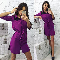 Комфортное женское платье-рубашка с отделкой из французского кружева  размер 42,44,46