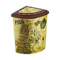 Угловая корзина для белья с крышкой и деколью Башня Elif plastik 338-11LF
