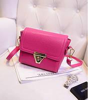 Маленькая женская сумочка из экокожи розовая через плечо, фото 1