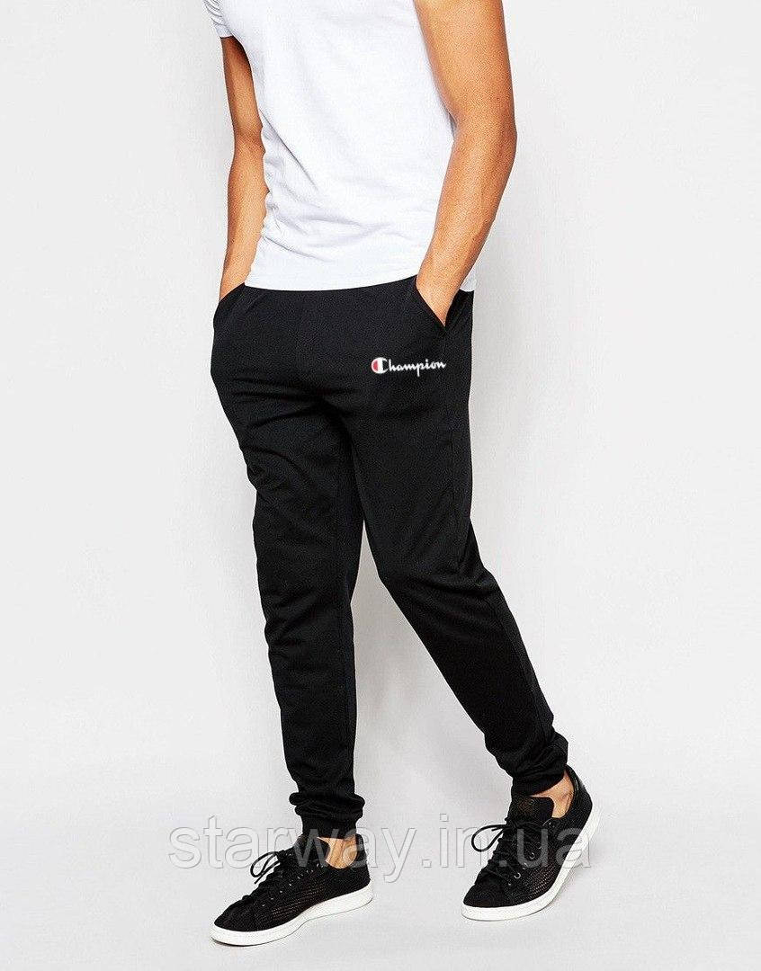 Чёрные штаны с белым принтом Champion | Стильные