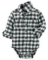6d1f1748b7c Детская фланелевая боди-рубашка в клетку с длинным рукавом OshKosh B gosh  для мальчика