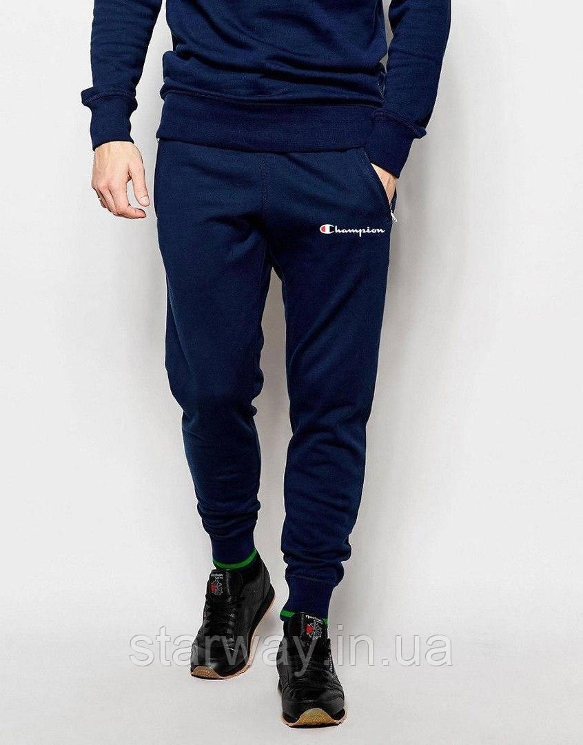 Тёмно-синие штаны с белым принтом Champion   Стильные