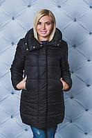 Удлиненная куртка зима  черная( в наличии большие размеры)