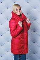 Удлиненная куртка зима  красная( в наличии большие размеры)