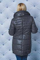 Удлиненная куртка зима  черный горох( в наличии большие размеры), фото 2