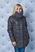 Удлиненная куртка зима  черный горох( в наличии большие размеры)