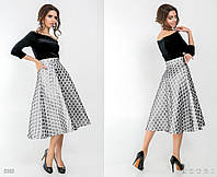 Стильное женское платье юбка в горох размеры:42,44,46