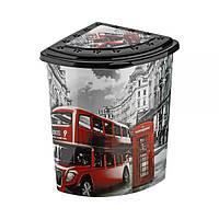 Угловая корзина для белья с крышкой и деколью Лондон Elif plastik 338-9LF