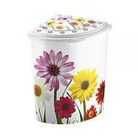 Угловая корзина для белья с крышкой и деколью Полевые цветы Elif plastik 338-5LF