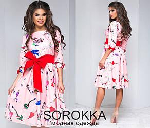 Интересное молодежное котоновое платье, принт девушки раз. 42-46