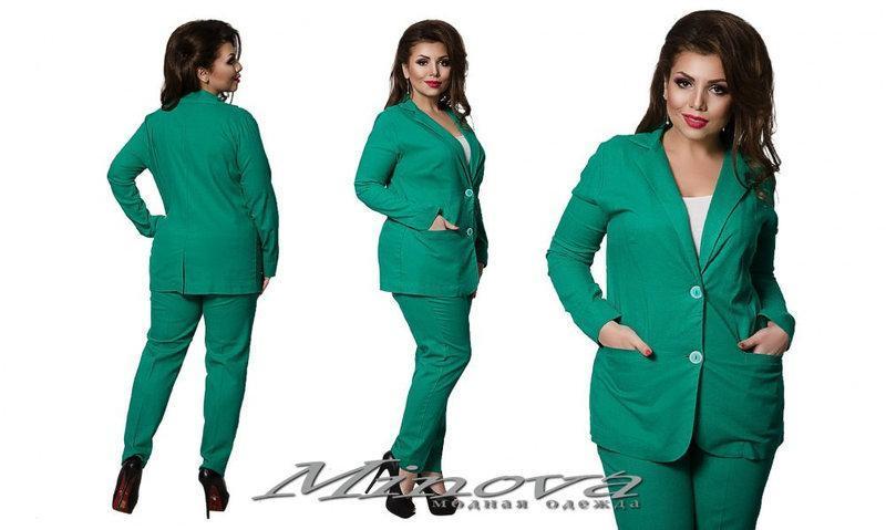 77c9d74afa166f8 Летний женский костюм брюки и удлиненный пиджак лен размеры 48-56 ...