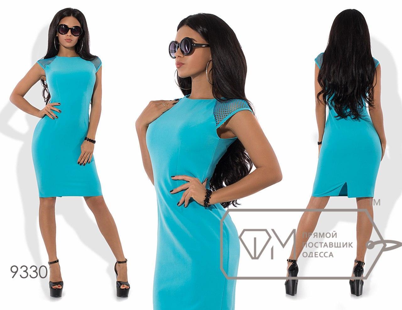 Облегающее женское платье костюмка+сетка  размер 42-46