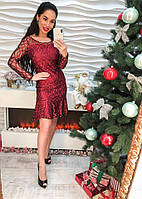 Женское нарядное платье с фатин с узором
