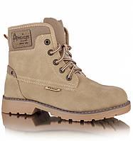"""Зимние детские ботинки (1012/17-1) ТМ """"American Club"""" (светлый беж) размеры 32-36"""